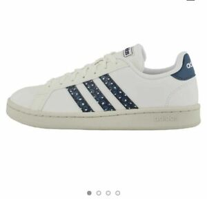 NEW Adidas Grand Court Women's Tennis Shoes White / Blue EH1111 Size 7.5