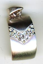 """925 Sterling Silver Cubic Zirconia Curved Pendant Length 7/8"""" Satin finish"""