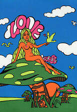 Love & Peace Poster, Naked Hippie Girl, Mushrooms, Birds, Psychedelic, Fantasy