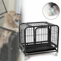 31'' Large Dog Crate 2 Door Animal Cat Pet Poodle Cage Puppy Kennel House & Tray