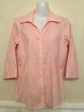 EDDIE BAUER Size S Wrinkle Resistant Button Down Pink Strips Shirt Top Blouse
