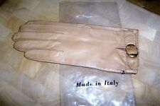 Ladies Kid Leather Gloves  beige colour made in Italy.