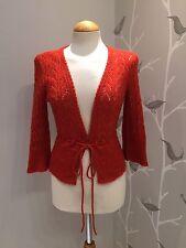 Ladies Crochet Loose Knit Cardigan Sweater Orange Mohair Mix Sz M 10 12 Ref 459