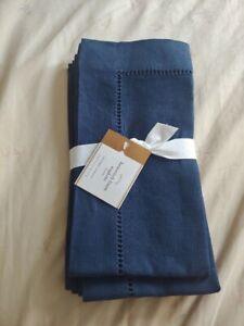pottery barn hemstitch linen napkin set of 4 new original $56 Sailor Blue