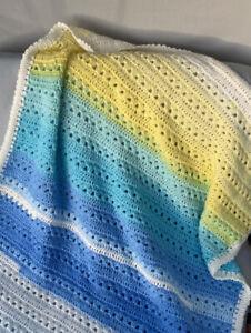 New Handmade Crochet Blue White Yellow Baby Cot Blanket Gift Idea