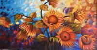 Hand canvas Modern Abstract Art Oil Painting Wall Art Decor Sunflower( No Frame)