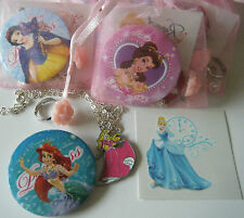 DISNEY PRINCESS THEME PARTY BAG FILLER NECKLACE BADGE RING TATTOO or STICKER