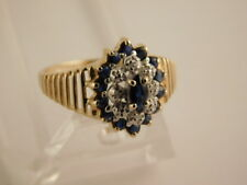 BLUE MARQUISE SAPPHIRE DIAMOND 14K GOLD RING SIZE 7 GIFT BOX