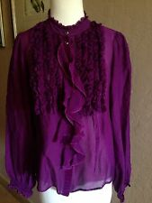Etro Runway Purple Ruffle Silk Button Shirt Blouse top Size 44 U.S 8