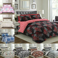 New 4 Piece Bedding Set Duvet Cover With Matching Fitted Sheet & Pillow Cases