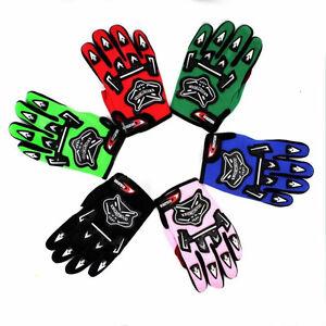Pair Kids Youth Racing Gloves Motocross Sports Full Finger MX Dirt Pit Pro Bike
