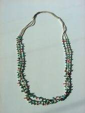 "Pueblo Necklace Three Strand Heishi With Turquoise Coral Nuggets 28"" Long"