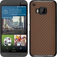 Hardcase für HTC One M9 Hülle bronze Carbonoptik + 2 Schutzfolien