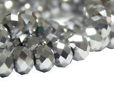 25 TSCHECHISCHE Kristall Perlen 6mm Glasschliff Silber Facettiert Rondell X202