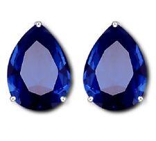 Faux Sapphire Blue Paste Teardrop Crystal PEAR Silver Clipon Clip on Earrings UK