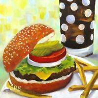 Original Oil Painting Hamburger French Fries Coke Lettuce Pickle Tomato Bun Food