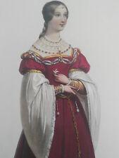 ACHILLE DEVERIA (1800-1857) COLORFUL XXL LITHOGRAPHY DAME DE TOULOUSE 1538