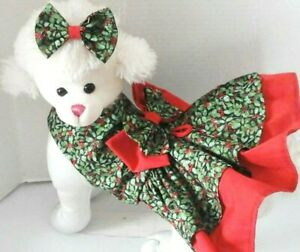 Dog Dress/Harness   CHRISTMAS HOLLY WITH MATCHING HAIR BOW  NEW  FREE SHIPPING