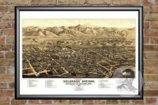 Vintage Colorado Springs, CO Map 1882 - Historic Colorado Art - Old Industrial