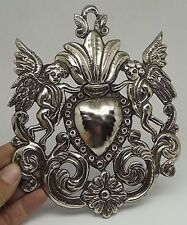 ANTIQUE OLD Sacred Heart Jesus Ex Voto MILAGRO MIRACLE SILVERED ANGELS F-49