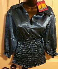 She's Cool 2x Plus NWT Electric Blue Satiny Button Down Shirt