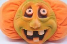 Vintage Halloween Pumpkin Decorations 1997 Stuffins Pumpkin Flocked Face