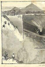 VESUVE VESUVIO GUIDES & EXCURSION GRAVURE ILLUSTRATION 1877