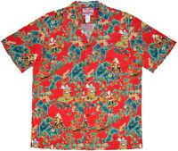 RJC Made in USA Men's Christmas Hawaiian Santa Aloha Shirt