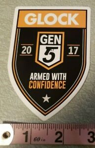 """Glock GEN 5 ARMED With CONFIDENCE Decal Sticker OEM 2017 4"""" T x 2.75""""W"""