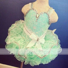 Pretty Mint Green Cupcake Toddler/Infant Glitz Pageant Dress Baby Girls Formal