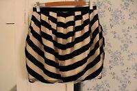 Topshop Black Cream Striped Velvet Pleated Mini Skater Tulip Skirt Party Size 8