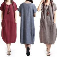 Summer Women Oversized Tunic Dress Loose Short Sleeve Casual Long Maxi Dress Hot