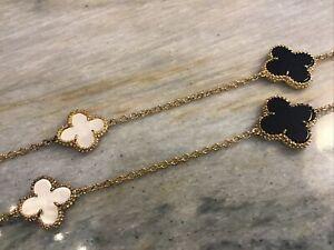 Vanderbilt Collection Black Cream MOP Alhambra Motif Long Necklace Quatrefoil