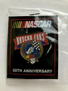 NEW OLD STOCK 1998 NASCAR FANS 50th ANNIVERSARY LAPEL HAT PIN  COLLECTIBLE FSH
