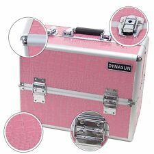 Beauty Case Make Up BS35 XXL Rosa Argento Valigia Disegno Pelle Coccodrillo
