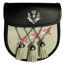 AAR White Day Fur Sporran with 3 Fur Tassels Double Chain Kilt Belt Bagpipe Fly