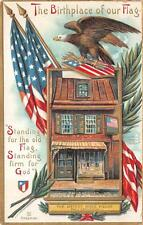 BETSY ROSS HOUSE HOLIDAY FLAG SHIELD EAGLE PATRIOTIC POSTCARD (c. 1910) 5
