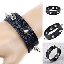 RETRO Metal Cone Stud Rivet Spike Punk PU Leather Bangle Cuff Bracelet Wristband