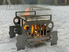 Jeep Fire Pit BBQ Grill Portable Stainless Steel Outdoor Camping Back Yard