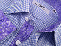 Purple Designer Plaids & Checkers Formal Business Dress Shirt Luxury Men Fashion