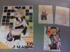 Kagamine Rin & Len Art Card + 3 postcards - Vocaloid- USA seller