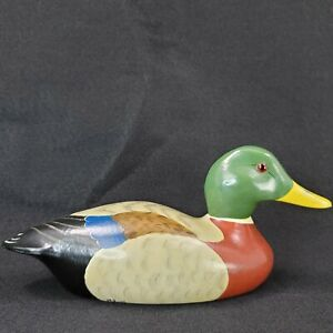 Mallard drake duck decoy wood hand painted signed dated 1979