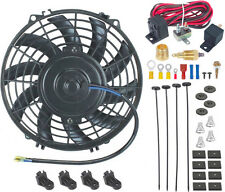 "9"" INCH ELECTRIC FAN 12V RADIATOR COOLING 3/8"" THREAD-IN GROUND THERMOSTAT KIT"