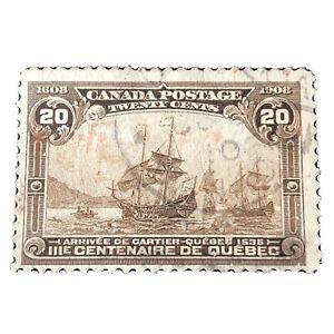 CANADA, SCOTT #103, 20c. VALUE YELLOW BROWN QUEBEC TERCENTENARY 1908 ISSUE USED