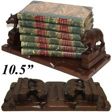 "Antique Hand Carved Swiss Black Forest 10.5"" Book Rack, 2 Bears, Glass Eyes"