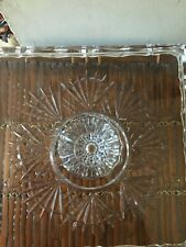 """Shannon Crystal by Godinger Freedom Collection 10"""" Heavy Square Cake Stand"""