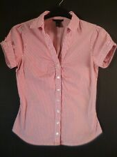 H&M Red & White Stripe Stretchy Fitted Style Shirt Size 12