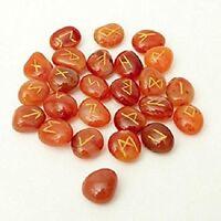 Carnelian Stone Spritual Rune Set Natural Healing Crystal Tumble Gemstone 25Pcs