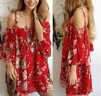Vintage Women Off Shoulder Floral Casual Loose Summer Beach Boho Chiffon Dress