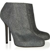 $885 SERGIO ROSSI BARBIE ANKLE BOOTS SHAGREEN LEATHER GRAY BOOTIES 39 / 9